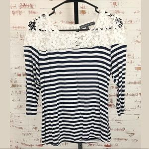 Brixton Ivy Striped Top Lace Shoulders 3/4 Sleeve